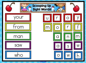 Scooping Up Sight Words - Sight Word Mix Ups for SMARTboard - 75 Pack