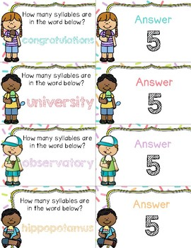 Scooping Up Syllables ~ 1 - 5 Syllable Words ~ Quiz-Quiz-Trade Cards