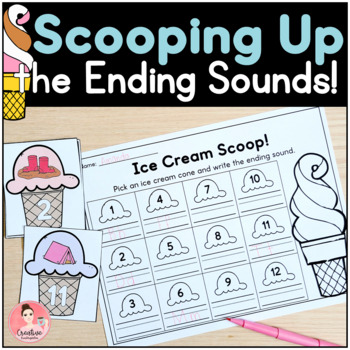 Scooping Up the Ending Sounds Kindergarten Literacy Centers