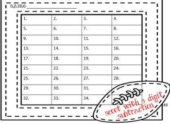 Scoot 3 Digit Subtraction Cards and Mat