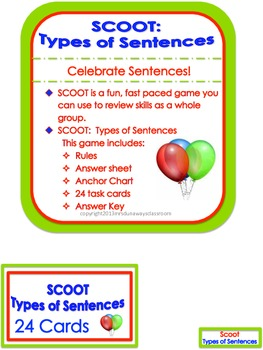 Scoot:  4 Types of Sentences (2 versions)
