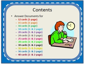 Scoot Activity Answer Documents for Multiple Card Sets 1- and 2-Page Sets