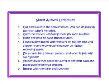 Scoot Activity/Task Card Template That You Can Customize (Large Card Size)