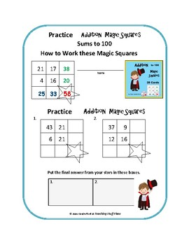 Addition to 100  MAGIC MATH  Gr 2-3  Self-Checking| Early Finishers  Task Cards