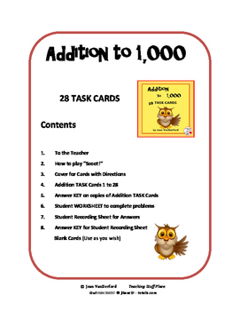 ADDITION to 1000 TASK CARDS  REVIEW ... Scoot!  ... Game Gr 3-4 Math CORE