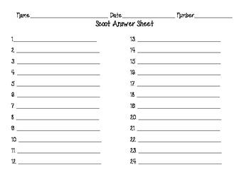 Scoot Answer Sheet