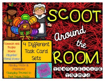 Thanksgiving Themed-  4 Task Card/Scoot Sets - Nouns and Verbs