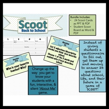 Scoot Back to School Student Questionnaire for Middle School