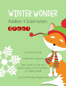 Scoot!  Basic Facts {Christmas Basic Facts} Walk Around Gallery Walk Task Cards