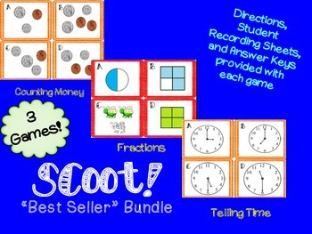 Scoot! Best Seller Bundle (Time, Money, and Fractions)