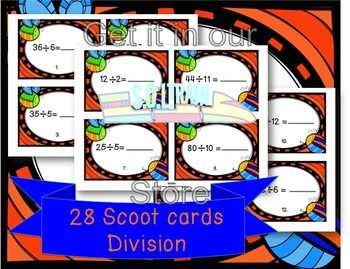 Spring Activities- Division Scoot with cute spring cards
