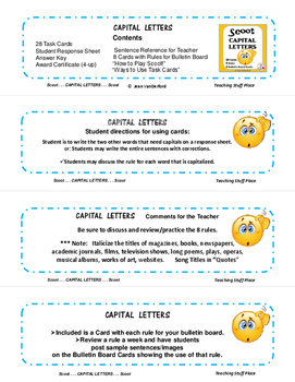 CAPITAL LETTERS SCOOT| TASK CARDS Game | Poster for Rules | Award | Gr 3-4