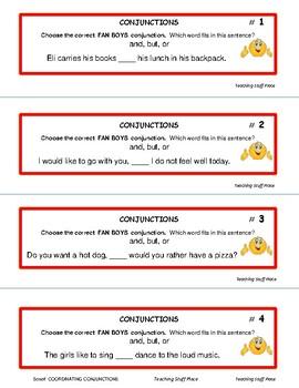 COORDINATING CONJUNCTIONS SCOOT ... Task Cards ... Plus DIGITAL DECK  Gr 3-4-5