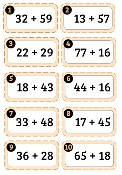 Scoot Cards: Two-Digit Addition/Subtraction (WITH Regrouping) | NOT EDITABLE