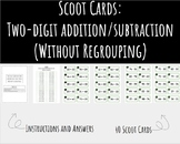 Scoot Cards: Two-Digit Addition/Subtraction (WITHOUT Regrouping) | NOT EDITABLE