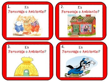 Scoot: Character or Setting: English and  Spanish cards (Marcharse)