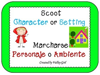 Scoot: Character or Setting: English and  Spanish cards (M