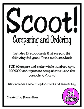 Scoot! Compare and Order (TEKS 3.2D)