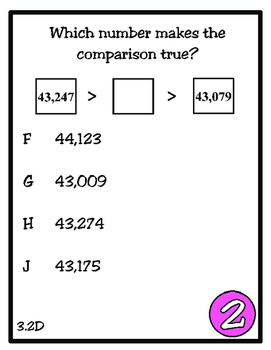 Scoot! Compare and Order (TEKS 3.2D) STAAR Practice