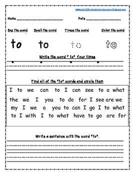 Scott Foresman Reading Street Sight Words Worksheets for Unit 1-6