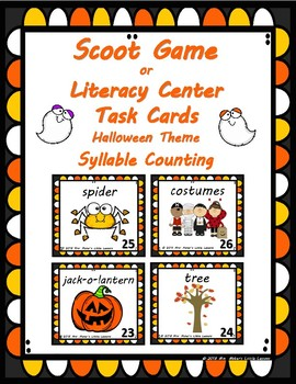 Scoot Game/Task Cards: Syllable Counting (Halloween Theme)