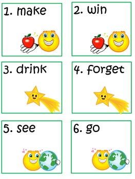 Scoot Game Task Cards for Practice with Basic Irregular Verbs for Common Core