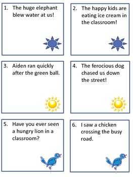 Scoot Game Task Cards for Practice with Identifying Adjectives for Common Core