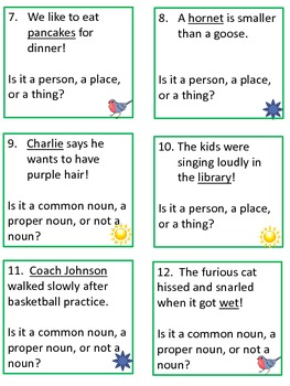 Scoot Game Task Cards for Practice with Identifying Nouns for Common Core