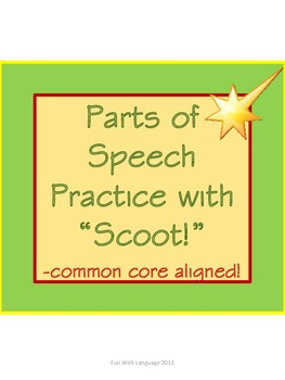 Parts of Speech Task Cards or Scoot for Practice and Common Core