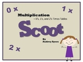 Scoot! Game with Multiplication Fact Families 0's 1's and 2's