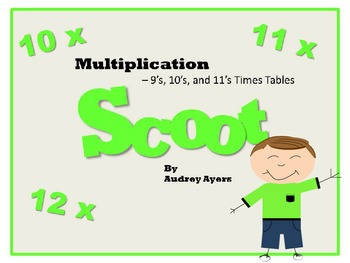 Scoot! Game with Multiplication Fact Families 10's, 11's, and 12's