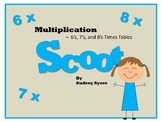 Scoot! Game with Multiplication Fact Families 6's, 7's, and 8's