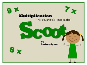 Scoot! Game with Multiplication Fact Families 7's, 8's, and 9's
