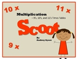 Scoot! Game with Multiplication Fact Families 9's, 10's, and 11's