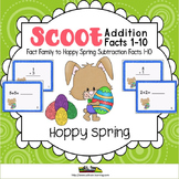 Easter Activities-Scoot Addition 1-10 on Cute Bunny Cards