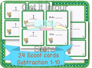Easter  Activities-Scoot Subtraction 1-10 on Cute Bunny Cards