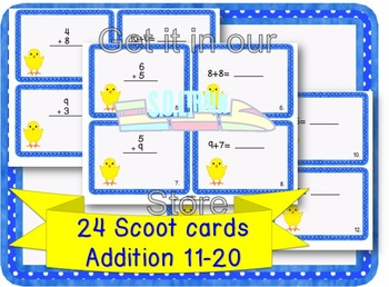 Easter Activities-Scoot Addition 11-20 on Cute Chick Cards