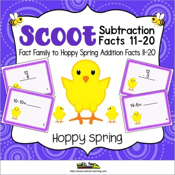 Easter Activities-Spring Scoot for Subtraction 11-20 on Cu