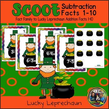 St. Patrick's Day Math Scoot for Subtraction to 10