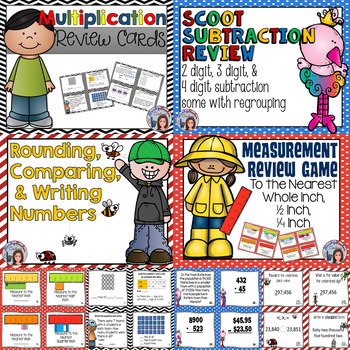 Subtraction, Multiplication, Rounding, and Measurement Tas