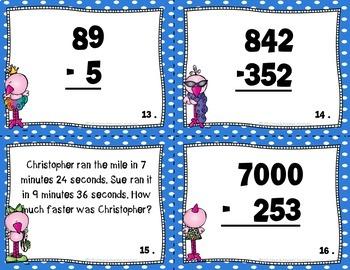 Subtraction, Multiplication, Rounding, and Measurement Task Card Bundle