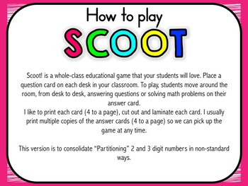 Scoot Math Game – Partitioning (Non-standard) 2 & 3 digit Numbers