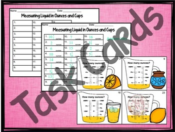 "Capacity Practice ""Measuring Ounces and Cups"""