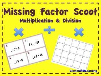 Scoot/Task Cards- Missing Factor Mixed (Multiplication and