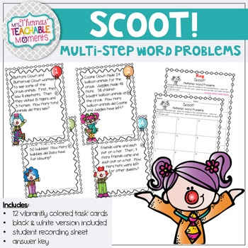 Scoot! Multistep Word Problems Addition and Subtraction Double Digit