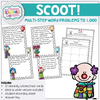 Scoot! Multistep Word Problems Addition and Subtraction up to 1,000