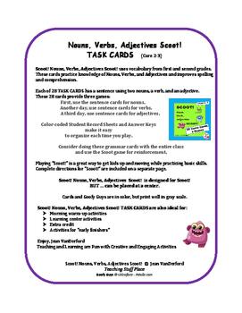 Nouns, Verbs, Adjectives  Task Cards | Scoot!  VOCABULARY   Gr 3 CORE LIST