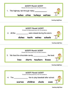 NOUN PLURALS | Task Cards | PRACTICE | REVIEW | Awards | GAME Rules | Gr. 3-4-5