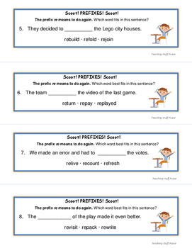 PREFIXES | Scoot! TASK CARDS | Awards | Prefix Lists | Grades 3-4