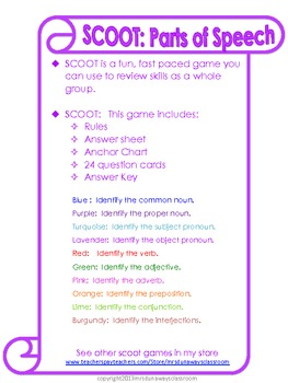Scoot: Parts of Speech (10 games)